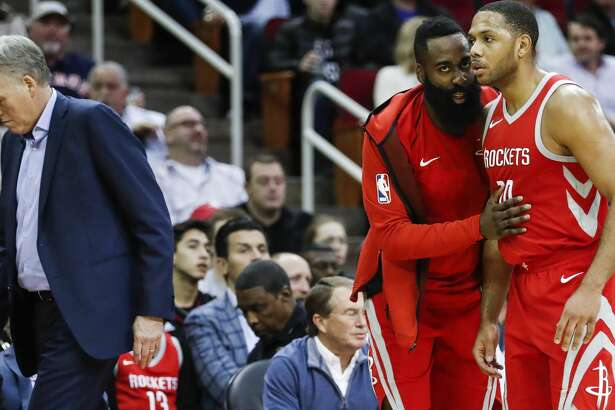 Houston Rockets guard James Harden (13) talks to guard Eric Gordon (10) during a break in the action during the second quarter of an NBA basketball game at Toyota Center on Saturday, Jan. 20, 2018, in Houston. ( Brett Coomer / Houston Chronicle )