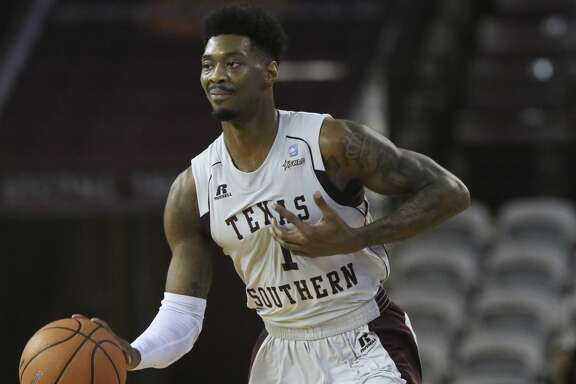 Texas Southern Tigers guard Donte Clark (1) brings the ball down the court after grabbing a rebound during the first half of a Southwestern Athletic Conference game against the Alcorn State Braves at Health & Physical Education Arena on Wednesday, Jan. 3, 2018, in Houston. ( Yi-Chin Lee / Houston Chronicle )