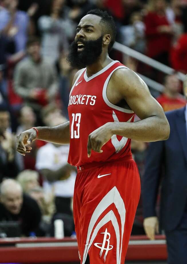 Houston Rockets guard James Harden (13) cheers as he walks back up court after hitting a shot during the second half of an NBA basketball game against the Golden State Warriors at Toyota Center on Saturday, Jan. 20, 2018, in Houston. ( Brett Coomer / Houston Chronicle ) Photo: Brett Coomer/Houston Chronicle