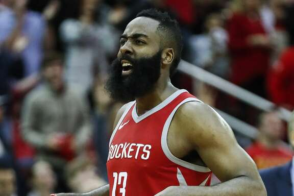 Houston Rockets guard James Harden (13) cheers as he walks back up court after hitting a shot during the second half of an NBA basketball game against the Golden State Warriors at Toyota Center on Saturday, Jan. 20, 2018, in Houston. ( Brett Coomer / Houston Chronicle )