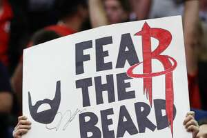 A Houston Rockets fans holds up a sign cheering on Rockets guard James Harden during the second half of an NBA basketball game against the Houston Rockets at Toyota Center on Saturday, Jan. 20, 2018, in Houston. ( Brett Coomer / Houston Chronicle )