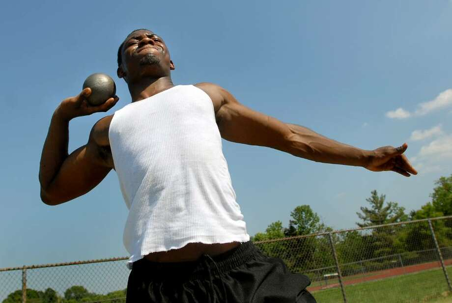 Section II shot put standout Naquan Lewis of Shaker High School is dedicating this season to his mother, who recently died of cancer. (Cindy Schultz / Times Union) Photo: CINDY SCHULTZ / 00008901A