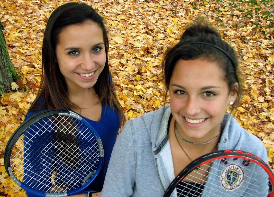 Guilderland has one of the Capital Region's top high school girls'  tennis doubles tandems in Rachael Gallelli, left, and Lauren Fehervari. (Michael P. Farrell/Times Union) Photo: MICHAEL P. FARRELL / 00006177A