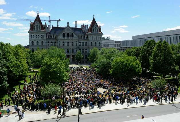 State workers rally in on the west side of the State Capitol in Albany, today, May 10, 2010.    (Skip Dickstein / Times Union) Photo: Skip Dickstein