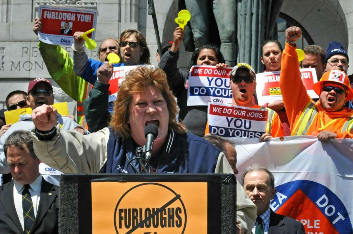 CSEA Region 4 President Kathy Garrison speaks today, May 10,2010, during a protest against Gov. David Paterson's plan to furlough state workers to balance the budget. (Lori Van Buren / Times Union)