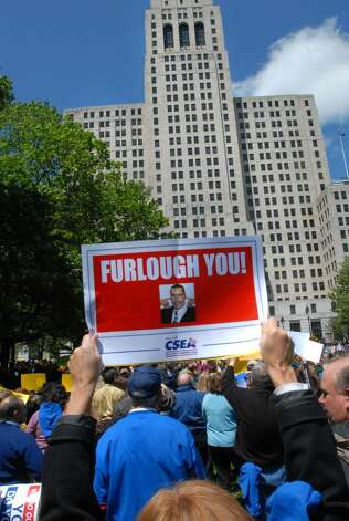 PEF and CSEA hold a protest outside the Capitol to oppose Gov. David Paterson's plan to furlough state workers to balance the budget.  (Lori Van Buren / Times Union) Photo: LORI VAN BUREN