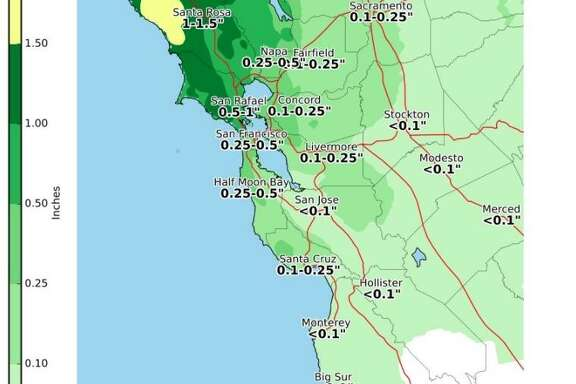 A winter storm is expected to bring rain to San Francisco by Sunday night, meteorologists said.