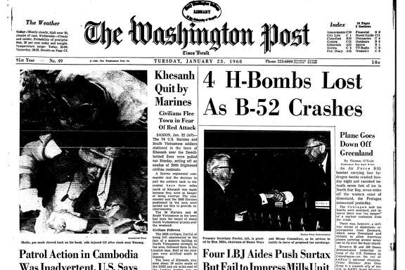 The front page of The Washington Post on Jan. 23, 1968.