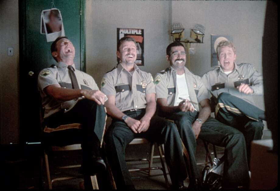 "Erik Stolhanske, Steve Lemme, Jay Chandrasekhar and Paul Soter play Vermont highway patrolmen in the goofball comedy ""Super Troopers."" Photo: Fox Searchlight C2002"
