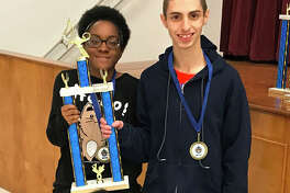 Coldspring-Oakhurst High School seniors Charise Lincoln and Michael Moran won first place in their division of the Inventions contest at the Area 6 Robotics Competition held at COHS on Saturday, Jan. 13.