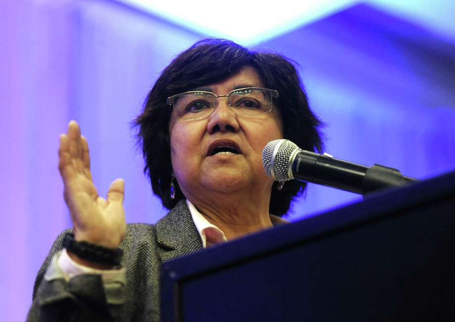 Democratic gubernatorial candidate Lupe Valdez speaks during a forum at Texas AFL-CIO's COPE convention at the Sheraton Austin hotel on Saturday, Jan. 20, 2018. Photo: Billy Calzada /San Antonio Express-News / San Antonio Express-News
