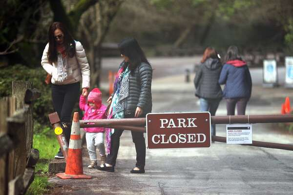 Despite Muir Woods being closed due to the government shut down, visitors were still allowed to enter the park but the parking lots were unavailable in Mill Valley, Calif., on Sunday, January 21, 2018.