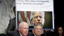 As Sen. Richard Durbin, right, looks on, Sen. Patrick Leahy questions Homeland Security Secretary Kirstjen Nielsen during a hearing held by the Senate Judiciary Committee last week. Leahy and Durbin both questioned Nielsen about derogatory language reportedly used by U.S. President Donald Trump during a meeting last week on immigration.