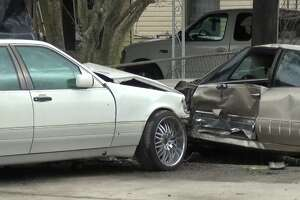 A driver crashed into cars parked in front of a house in northeast Houston Sunday afternoon.