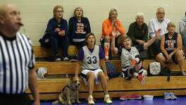 Pat Quinlan with the Texas Mavericks reacts during a game of  women playing 3 on 3 basketball at the JCC as part of the Senior Olympics on Saturday, January 20, 2018.