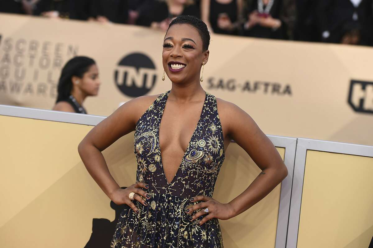 Samira Wiley arrives at the 24th annual Screen Actors Guild Awards at the Shrine Auditorium & Expo Hall on Sunday, Jan. 21, 2018, in Los Angeles. (Photo by Jordan Strauss/Invision/AP)