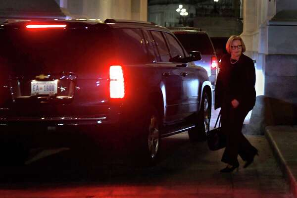 Sen. Claire McCaskill, D-Mo.,i walks to her car at the Capitol at about 1:30 a.m. Saturday after no deal to keep the government could be made.
