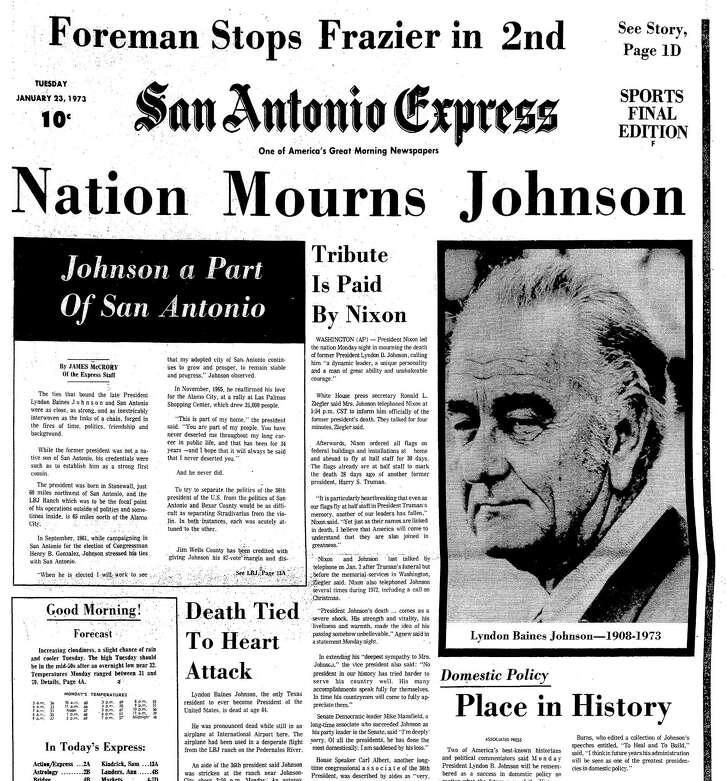 The Jan. 23, 1979, issue of the San Antonio Express included three pages about the life and death of President Lyndon Baines Johnson, who died at his LBJ Ranch near Johnson City the day before.