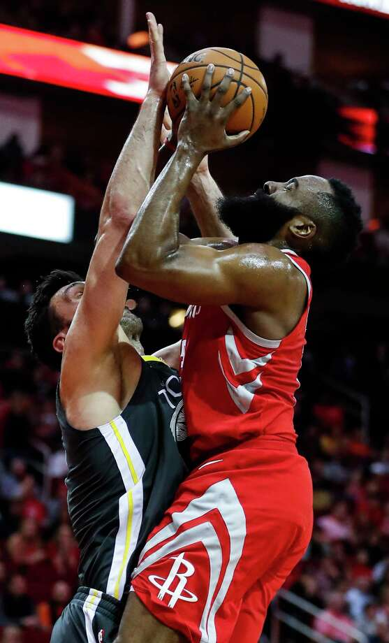 Houston Rockets guard James Harden (13) shoots over Golden State Warriors center Zaza Pachulia (27) during the first quarter of an NBA basketball game at Toyota Center on Saturday, Jan. 20, 2018, in Houston. ( Brett Coomer / Houston Chronicle ) Photo: Brett Coomer, Staff / © 2018 Houston Chronicle