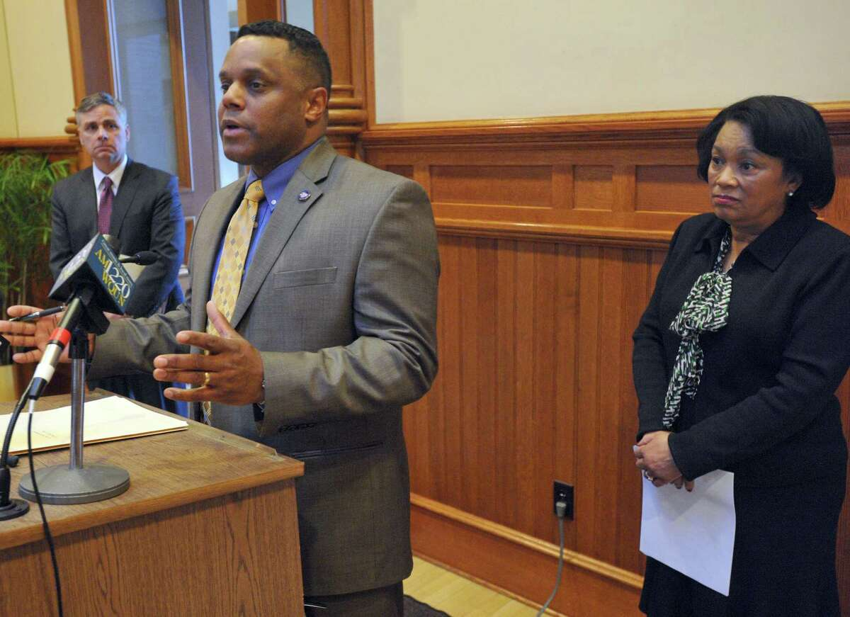 New Haven City Controller Daryl Jones (left) and New Haven Mayor Toni Harp during a press conference at City Hall on February 27, 2017.