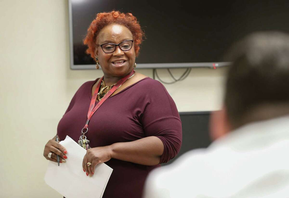 Sandra Turner leads a Harris County's Misdemeanor Marijuana Diversion Program Wednesday, Jan. 10, 2018, in Houston. The program is a several hour class on making good decisions. The class is held every Wednesday evening and Saturday afternoon.