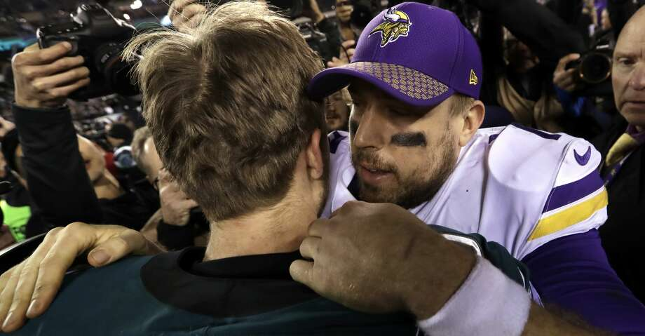PHOTOS: Five things to know about the Eagles' NFC title winPhiladelphia Eagles' Nick Foles hugs Minnesota Vikings' Case Keenum after the NFL football NFC championship game against the Minnesota Vikings Sunday, Jan. 21, 2018, in Philadelphia. The Eagle won 38-7 to advance to Super Bolw LII. (AP Photo/Michael Perez)Browse through the photos to see five things to know after the Eagles routed the Vikings in the NFC Championship game. Photo: Michael Perez/Associated Press