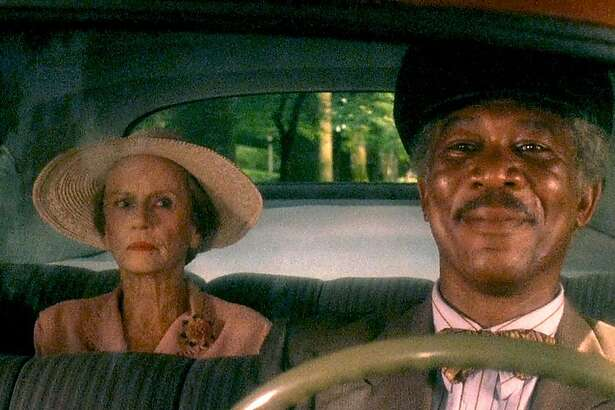 """Jessica Tandy (left) and Morgan Freeman in """"Driving Miss Daisy"""" (1989)."""