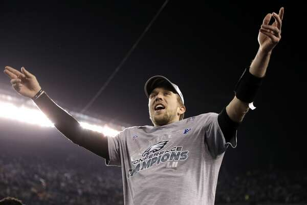Philadelphia Eagles' Nick Foles celebrates after the NFL football NFC championship game against the Minnesota Vikings Sunday, Jan. 21, 2018, in Philadelphia. The Eagles won 38-7 to advance to Super Bowl LII. (AP Photo/Matt Slocum)
