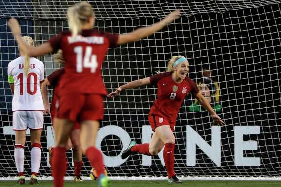 Julie Ertz, right, of the United States, celebrates after scoring in the first half of Sunday's friendly in San Diego. The Americans won 5-1.