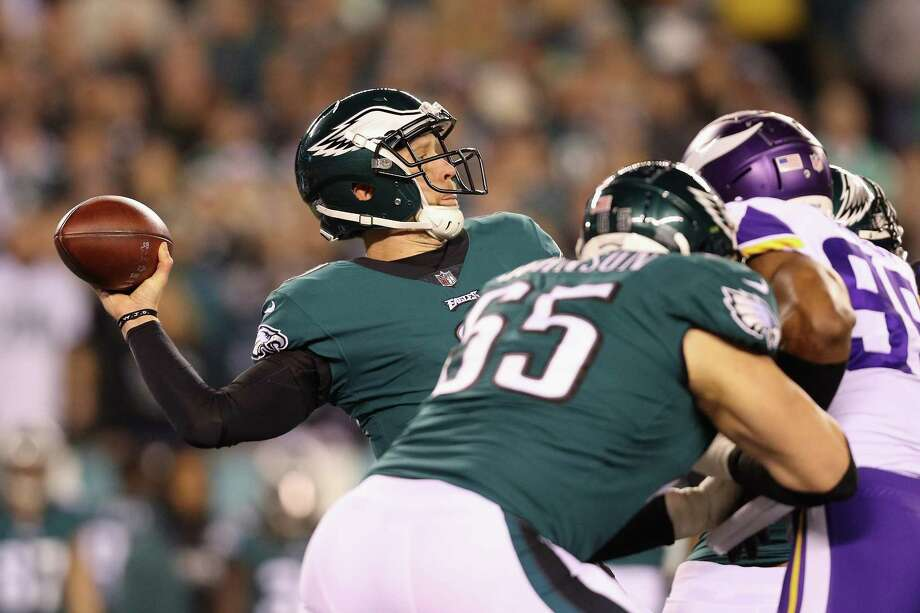 PHILADELPHIA, PA - JANUARY 21:  Nick Foles #9 of the Philadelphia Eagles attempts a pass against the Minnesota Vikings during the first quarter in the NFC Championship game at Lincoln Financial Field on January 21, 2018 in Philadelphia, Pennsylvania.  (Photo by Patrick Smith/Getty Images) Photo: Patrick Smith / 2018 Getty Images