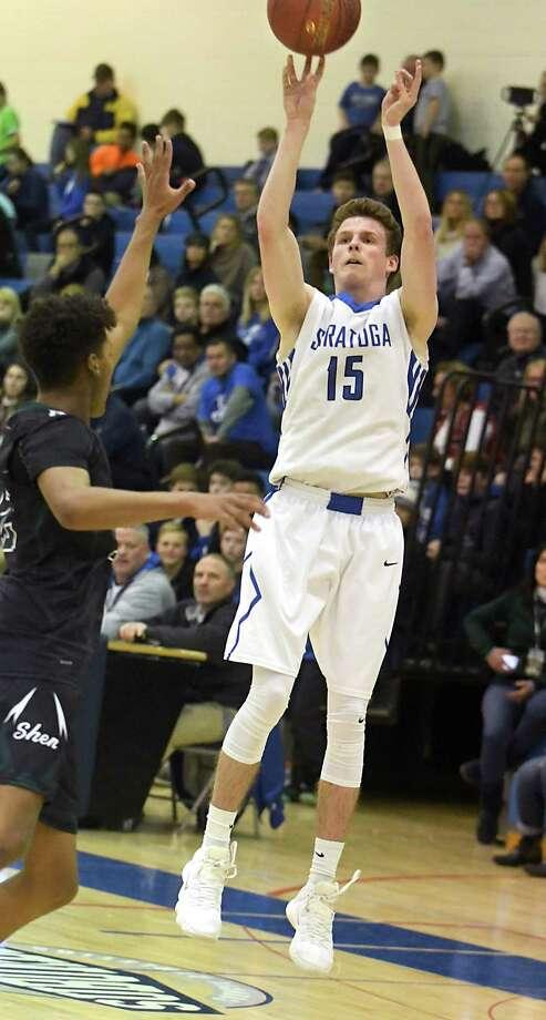 Saratoga's AJ Lawton takes a jump shot during a basketball game against Shenendehowa on Wednesday, Dec. 13, 2017 in Saratoga Springs, N.Y. (Lori Van Buren / Times Union) Photo: Lori Van Buren / 20042374A