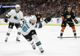 San Jose Sharks' Melker Karlsson, of Sweden, follows through on a shot that scored during the third period of the team's NHL hockey game against the Anaheim Ducks on Sunday, Jan. 21, 2018, in Anaheim, Calif. The Sharks won 6-2. (AP Photo/Jae C. Hong)