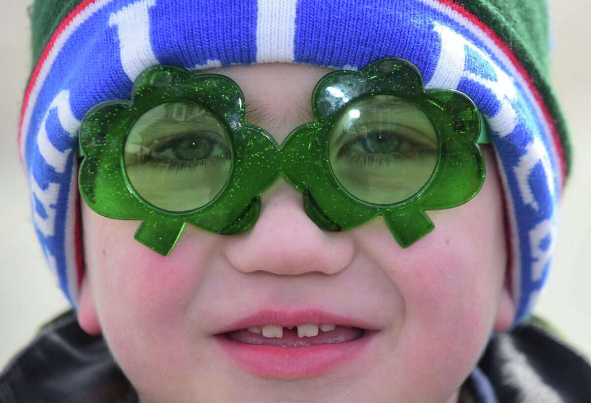 Jack Lagervall, 5, attends The Norwalk Police Emerald Society second annual St. Patrick?'s Day parade Saturday, March 11, 2017, in Norwalk, Conn. The parade route began at Norwalk Veteran?'s Park, made it's way down Washington St, under the SONO Railroad Bridge onto North Main St, then ending at O?'Neill?'s Irish Pub and Restaurant.