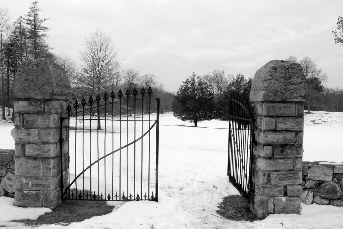 The gates to Winslow Park in Westport welcomed parkgoers to a snowy wonderland on the morning of Jan. 11.