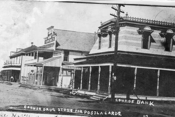 The old Conroe bank at the corner of Simonton and Pacific streets. This structure, pictured at the right of the photo, was owned by Banks Griffith. It burned in the major fire in Conroe on Feb. 21, 1911. Griffith was one of the industrious businessman to help rebuild the town following the fire. The positioning of the photo is looking to the west along Simonton Street.
