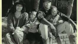 1985 file photo. Left to right, Diana, Kiah (6), Mike and Michael (3); Mike Mitchell.