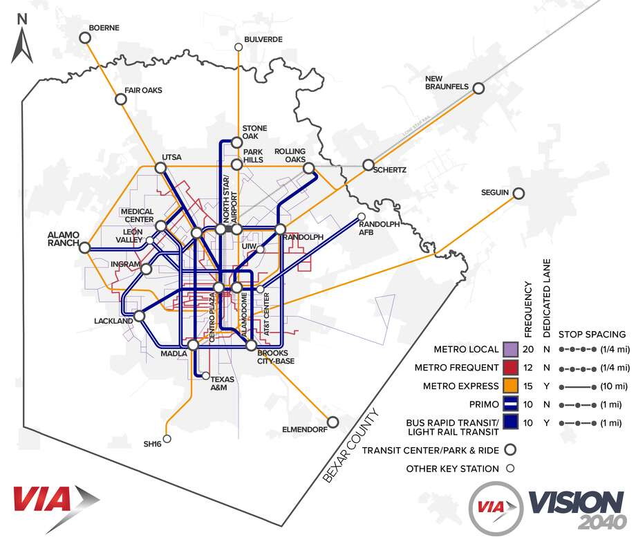 Vision 2040's Long Range Plan System includes rapid transit near the center of San Antonio plus transportation to the city's suburbs. Photo: Courtesy, VIA
