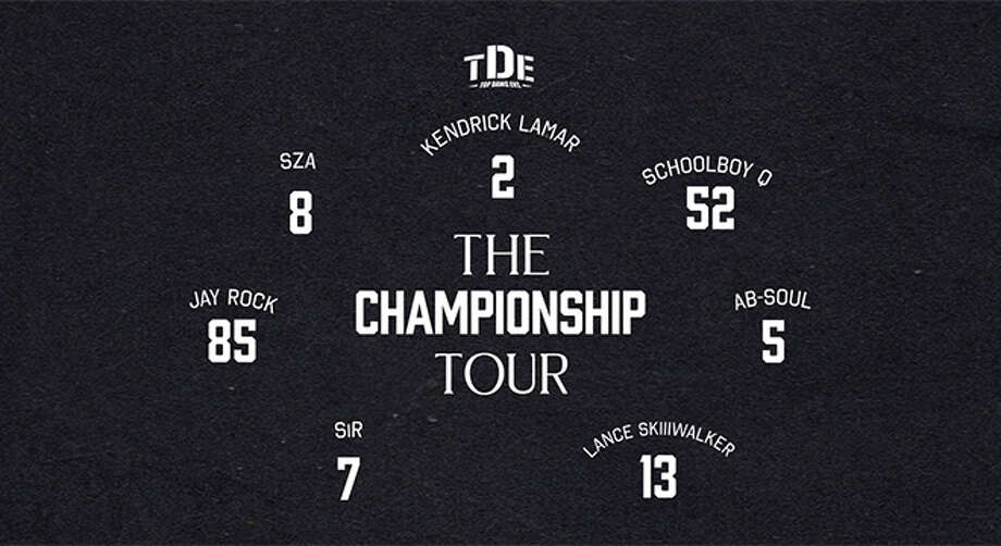 "June 13: TDE: The Championship Tour"" complete with the label's all-star roster including Kendrick Lamar, SZA, ScHoolboy Q, Jay Rock, Ab-Soul, SiR, Lance Skiiiwalker and more, 7:30 p.m., DTE Energy Music Theatre, www.313presents.com Photo: Www.313presents.com"