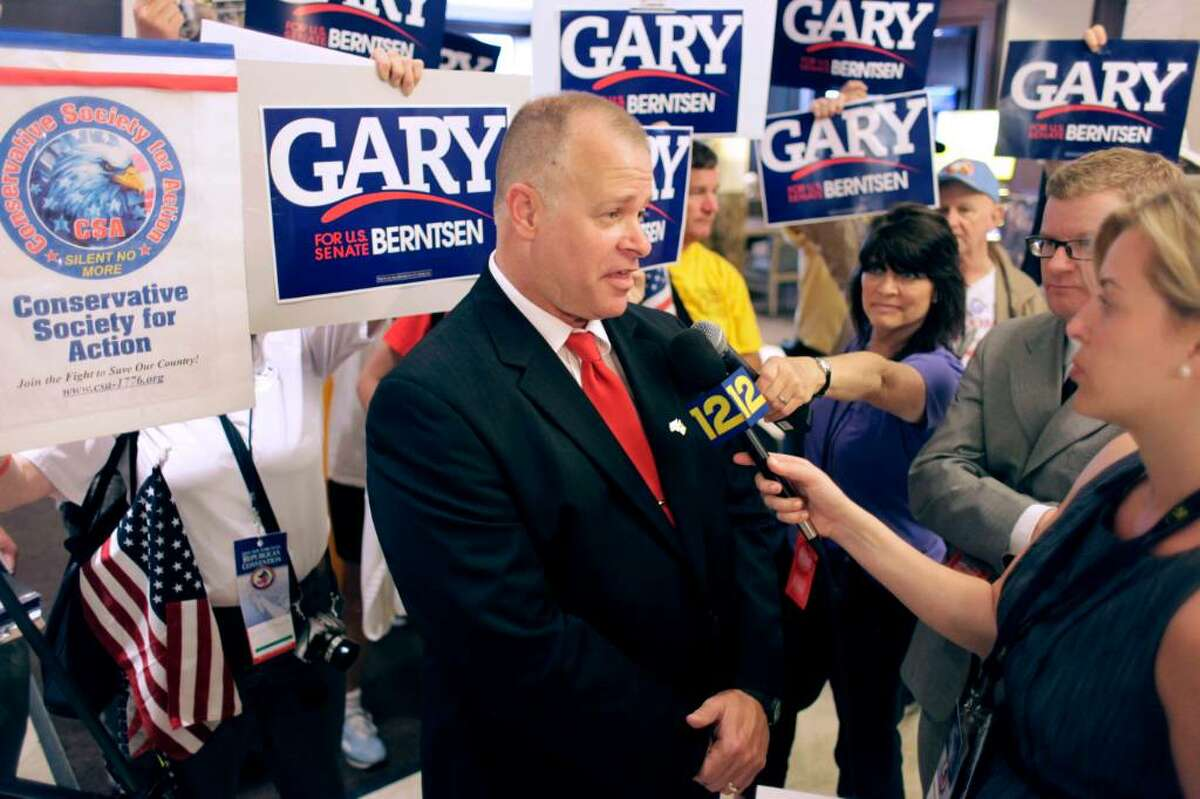 Tea Party activist and former CIA agent Gary Berntsen talks to the media Tuesday after the state Republican convention nominated him to run against incumbent Sen. Chuck Schumer, a Democrat. Berntsen faces a primary.( Mary Altaffer/Associated Press)