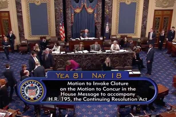 The Senate has advanced a bill reopening federal agencies through Feb. 8 after Democrats relented and lifted their blockade against the legislation. The shutdown began Saturday after Democrats derailed a Republican measure that would have kept government open until Feb. 16.