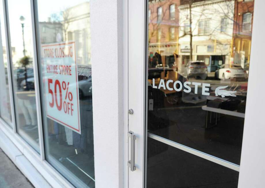 Fashion brand Lacoste, located at 98 Greenwich Ave., with a sign indicating the store is preparing to close in Greenwich, Conn. Thursday, Jan. 18, 2018. Photo: Tyler Sizemore / Hearst Connecticut Media / Greenwich Time