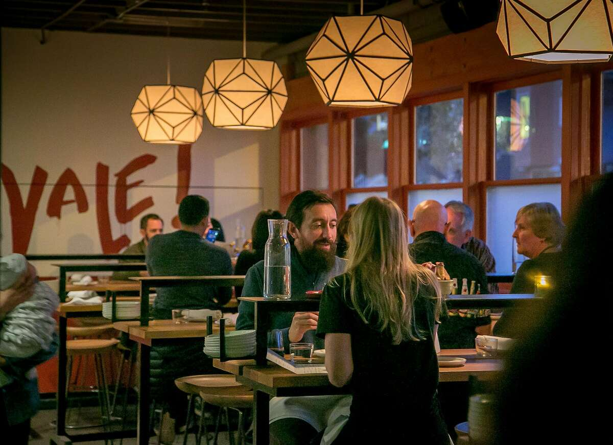 People have dinner at Barvale in San Francisco, Calif. on January 20th, 2018.