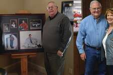 "Left, Mark and Freada Warren, stand next to photos of their late son Clay. On Jan. 28, Covenant Health Plainview will host a community blessing at their new James and Eva Mayer Surgical Center. The lobby will feature ""Clay's Corner"" a play area for children. On the right, Roy and Barbara share their ties with the Plainview hospital."