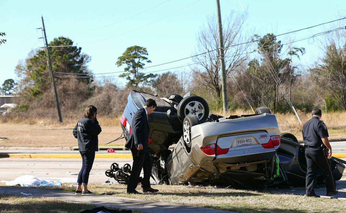 Harris County sheriff's deputies say two drivers died and three others, including a one-year-old infant, were injured Monday afternoon in a wreck at Tomball Parkway and Grant Road.