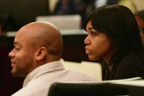 Alphonso McCloud, left, and his wife, Stanyelle McCloud, accused of serious bodily injury after their pit bull Bully last year attacked Doris Mixon Smith and pulled off her arm just below the elbow and mangled her face, sit in the 187th state District Court, presided by Judge Joey Contreras in the Cadena-Reeves Justice Center, on Monday, Jan. 22, 2018.