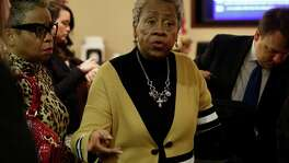 Doris Mixon Smith, whose arm was ripped off by a pit bull named Bully owned by Alphonso McCloud and his wife, Stanyelle McCloud, appears in the 187th state District Court, presided by Judge Joey Contreras in the Cadena-Reeves Justice Center, on Monday, Jan. 22, 2018.