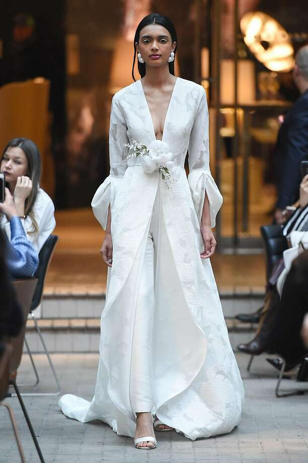 Bridal trend: Modesty. A bridal separates coat and pant combination designed by Sachin & Babi. Photo: Sachin & Babi, Joe Schildhorn /BFA.com