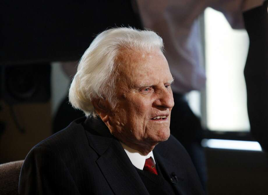 FILE- In this Dec. 20, 2010 file photo, evangelist Billy Graham, 92, is interviewed at the Billy Graham Evangelistic Association headquarters in Charlotte, N.C. The Rev. Billy Graham has died at age 99. Photo: Nell Redmond, AP