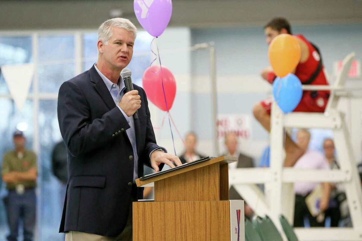 Schertz City Manager John Kessel speaks during the Grand Opening Ceremony for the Schertz Aquatics Center in 2017. Schertz council members voted to dismiss Kessel from his position at a three-hour special session on Jan. 19, 2018.