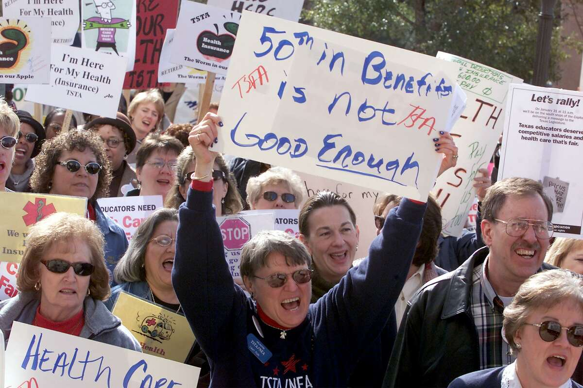 Benefits for teachers, retired or not, has long been an issue in Texas. Add now concerns about a pension plan that is underfunded. Here, educators a rally at the Capitol in Austin in 2001 to ask for state paid health benefits for public school employess.